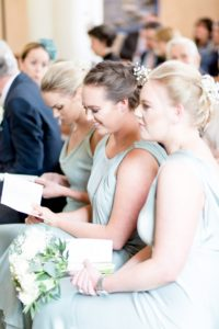 Bridesmaids in the church