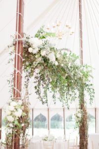 Hanging wedding flower detail