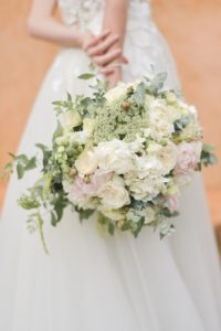 Pale pinks and white wedding flowers